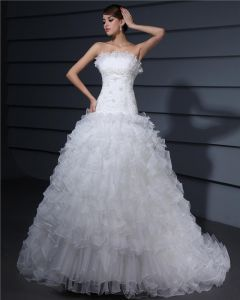Strapless Kjaereste Krusning Organza En Linje Brudekjoler Bryllupskjoler