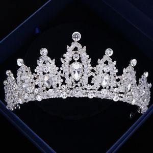 Luxus / Herrlich Silber Hochzeit Diadem 2018 Metall Kristall Strass Brautaccessoires
