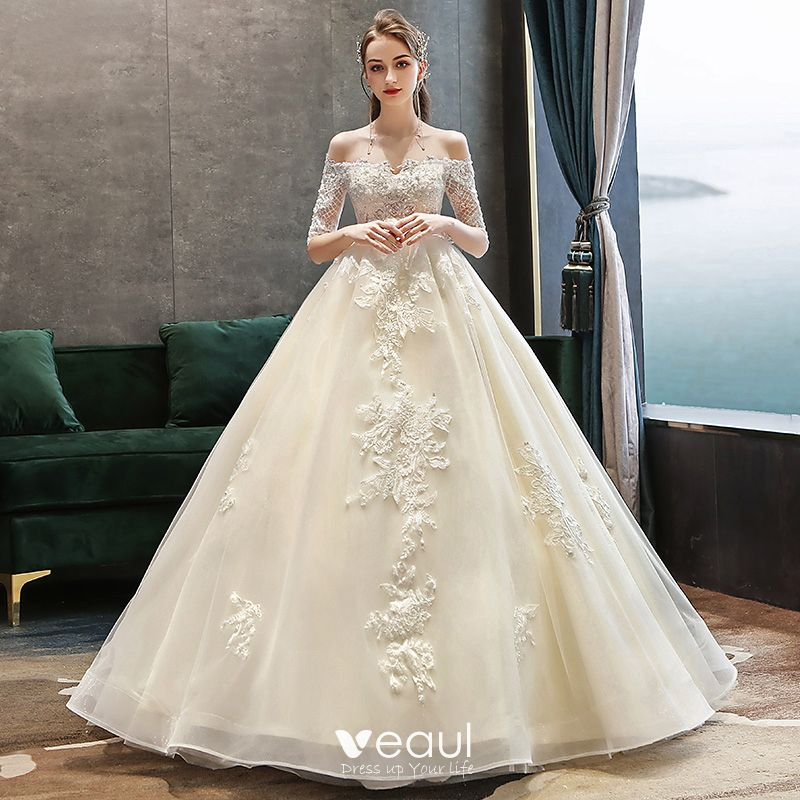 Classy Champagne Pregnant Wedding Dresses 2019 Off-The