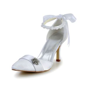 Princess White Wedding Shoes Satin Stilettos Sandals With Ribbon Tie Pearl Ankle Strap