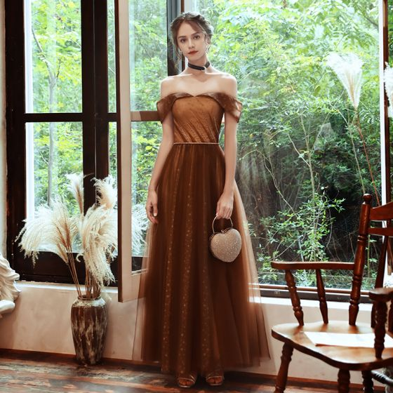 Chic / Beautiful Brown Evening Dresses  2020 A-Line / Princess Off-The-Shoulder Short Sleeve Beading Sash Spotted Tulle Floor-Length / Long Ruffle Backless Formal Dresses