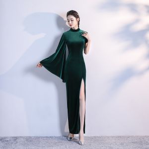 Modest / Simple Dark Green Velour Cheongsam / Qipao 2020 Trumpet / Mermaid High Neck Long Sleeve Split Front Floor-Length / Long Formal Dresses
