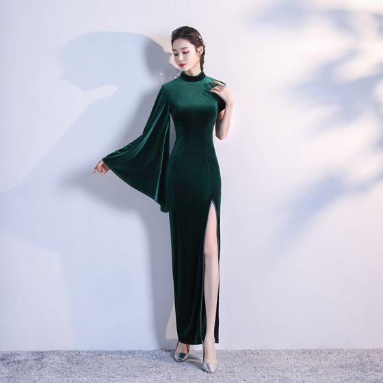 Modest / Simple Dark Green Velour Cheongsam / Qipao 2020 Trumpet / Mermaid High Neck Long Sleeve Split Front Floor-Length / Long Formal Dresses
