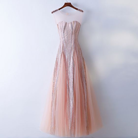 Chic / Beautiful Pearl Pink Prom Dresses 2017 A-Line / Princess Sequins Lace Scoop Neck Backless Sleeveless Floor-Length / Long Prom