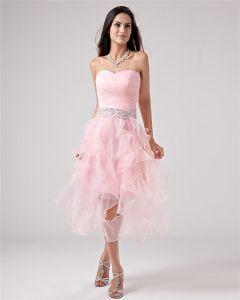 Halter Hilo Apliques Té Longitud Prom Vestidos De Cóctel De Tafetán