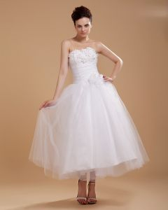 Yarn Satin Strapless Knee Length Mini Wedding Dresses