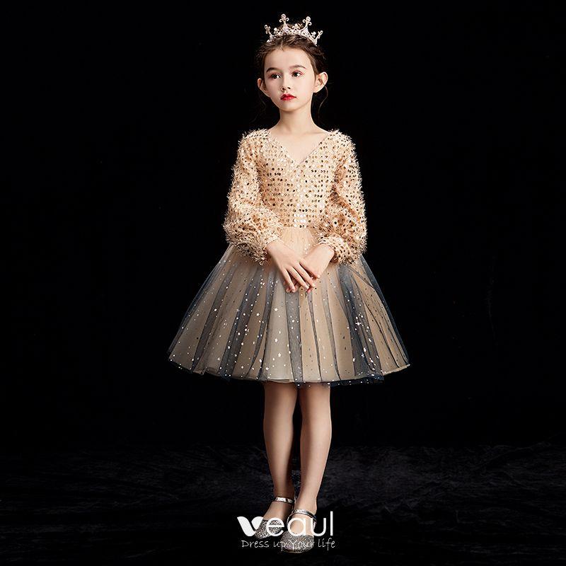 Glitter Long Champagne Sweetheart Sequin Ball Prom Dress