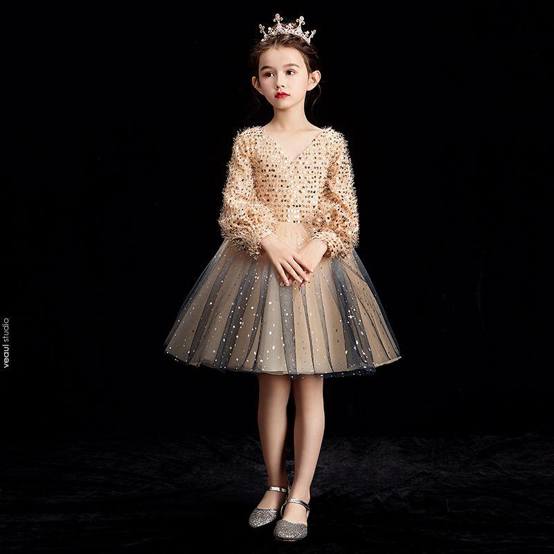 Bling Bling Champagne Flower Girl Dresses 2019 Ball Gown V-Neck Puffy Long Sleeve Glitter Sequins Short Ruffle Backless Wedding Party Dresses