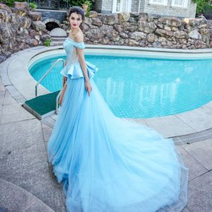 Modern / Fashion Sky Blue Evening Dresses  2017 A-Line / Princess Tulle Strapless Appliques Backless Evening Party