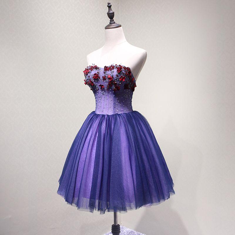Sexy Violet Robe De Fete 2018 Princesse Appliques Perlage Cristal Paillettes Noeud Bustier Dos Nu Sans Manches Courte Robe De Ceremonie