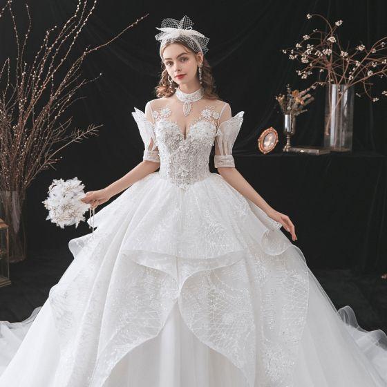 Modern / Fashion Ivory Cascading Ruffles Wedding Dresses 2021 Ball Gown High Neck Rhinestone Sequins Lace Flower Short Sleeve Backless Royal Train Wedding