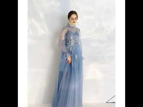 Elegant Ocean Blue See-through Evening Dresses  2020 A-Line / Princess High Neck Puffy Long Sleeve Glitter Tulle Appliques Flower Sequins Floor-Length / Long Ruffle Backless Formal Dresses