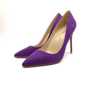 Modest / Simple Office OL Purple Suede Pumps 2020 12 cm Stiletto Heels Pointed Toe Pumps