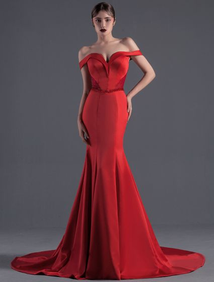 Sexy Celebrity Dress 2016 Mermaid Off The Shoulder Beading Crystal Backless Long Red Satin Evening Dress