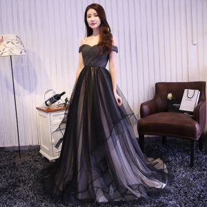 Chic / Beautiful Black Ruffle Evening Dresses  2018 A-Line / Princess Off-The-Shoulder Sleeveless Backless Sweep Train Formal Dresses