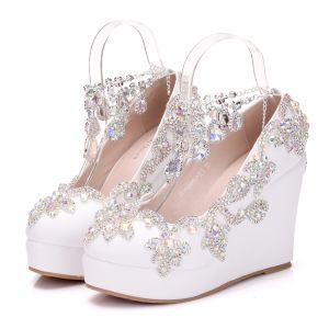 Glitter Witte Bruidsschoenen 2018 Rhinestone Kristal Ronde Neus Huwelijk Sleehakken Sandalen