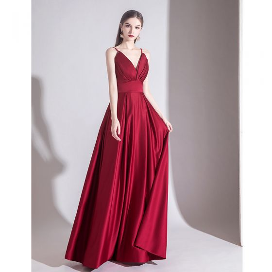 Elegant Solid Color Burgundy Evening Dresses  2020 A-Line / Princess Spaghetti Straps Sleeveless Backless Floor-Length / Long Formal Dresses