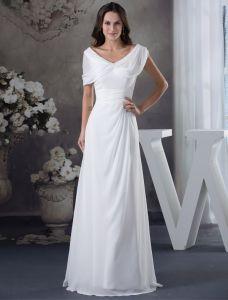 Épaules V-cou Uniques Ruffle Robe De Soirée Blanche