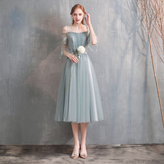 Affordable Green Bridesmaid Dresses 2020 A-Line / Princess Off-The-Shoulder Bell sleeves Appliques Lace Tea-length Ruffle Backless Wedding Party Dresses