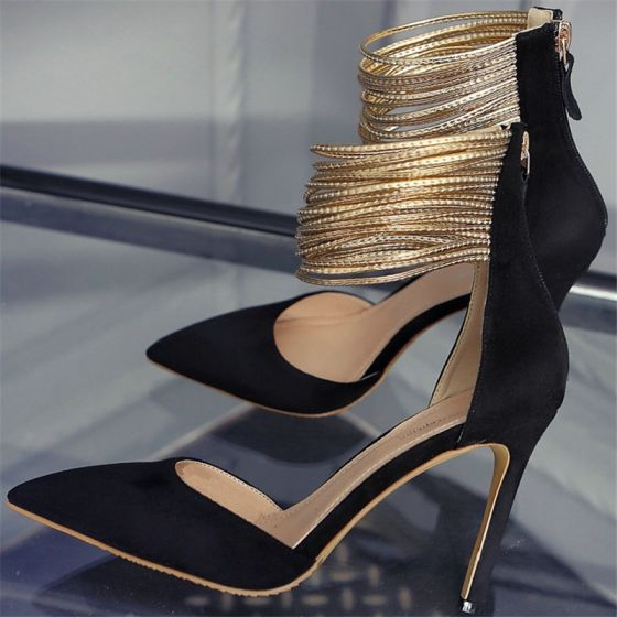 Fashion Evening Party Leather Black Womens Shoes 2020 Suede Gold Ankle Strap 10 cm Stiletto Heels Pointed Toe Pumps