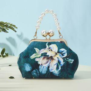 Vintage Estilo Chino Verde Oscuro Bolsas de embrague 2020 Metal Impresión Flor Poliéster