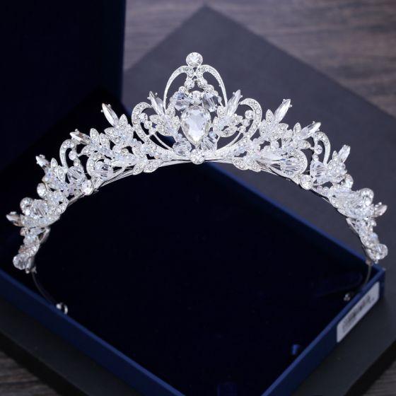 Sparkly Silver Wedding Tiara 2018 Metal Crystal Rhinestone Accessories