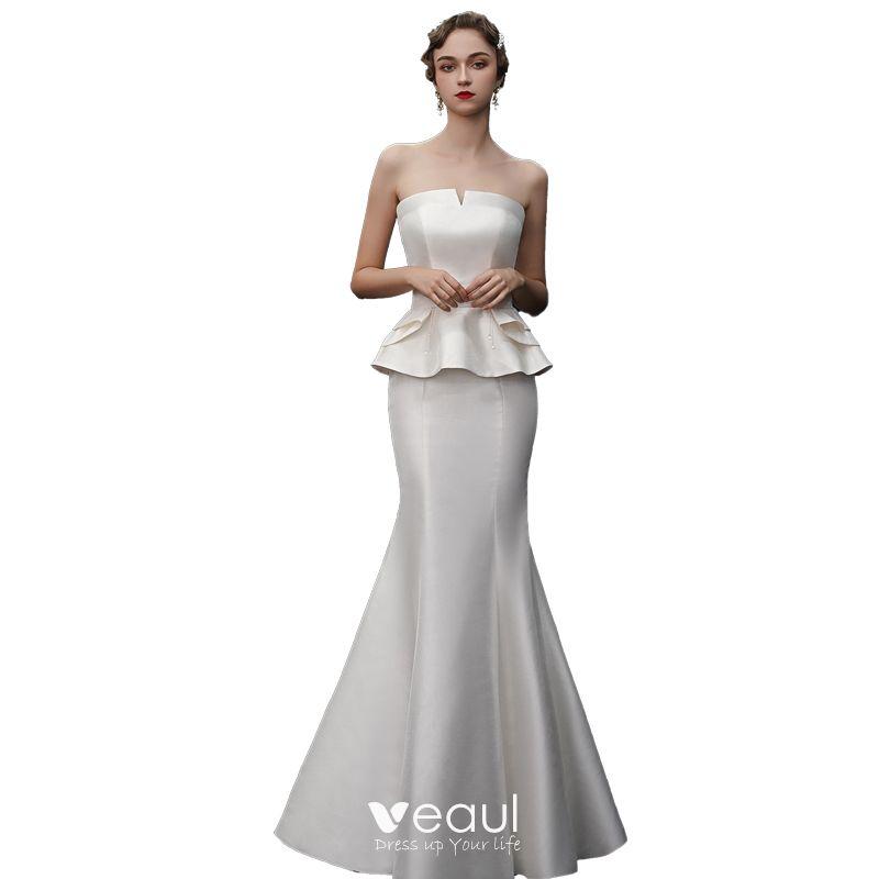 Ainisha Womens Simple Strapless Beading Mermaid Wedding Dress Beads Lace Bridal Gowns Sleeveless Wedding Gowns