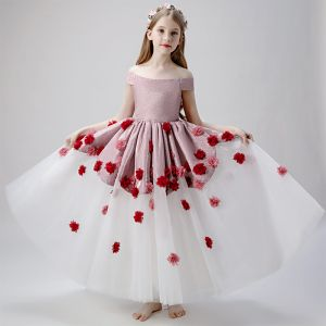 Flower Fairy Blushing Pink White Flower Girl Dresses 2019 Ball Gown Off-The-Shoulder Short Sleeve Glitter Polyester Appliques Flower Floor-Length / Long Ruffle Backless Wedding Party Dresses