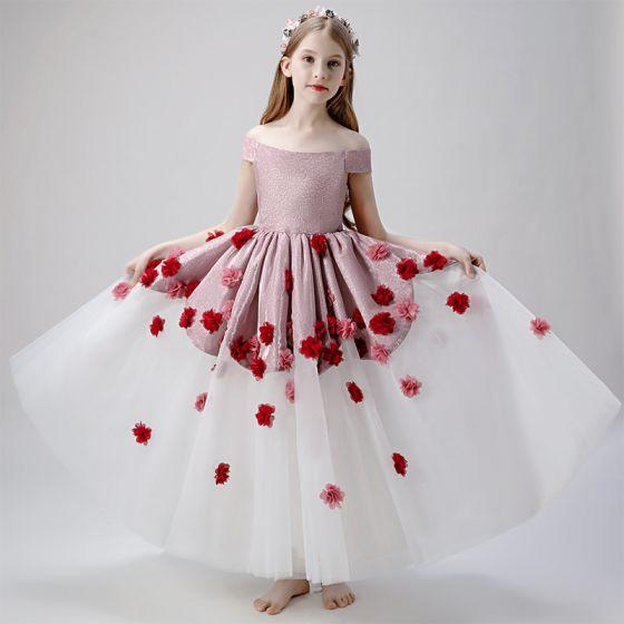 Flower Fairy Blushing Pink White Flower Girl Dresses 2019 Ball Gown Off-The-Shoulder Short Sleeve Glitter Polyester Appliques Flower Floor-Length / Long Ruffle Backless Wedding Party Dresses