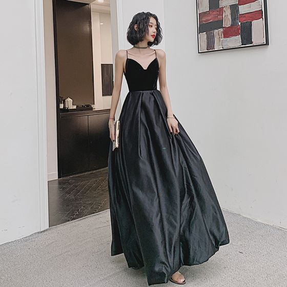 Charming Black Evening Dresses  2020 A-Line / Princess Suede Spaghetti Straps Sleeveless Backless Floor-Length / Long Formal Dresses