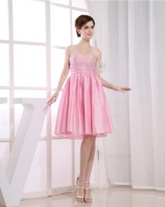 Chiffon Silk Beading Sweetheart Sleeveless Backless Zipper Knee Length Pleated Cocktail Dress