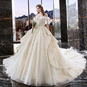 Charming Champagne Wedding Dresses 2019 A-Line / Princess Off-The-Shoulder Pearl Lace Flower Short Sleeve Backless Cascading Ruffles Cathedral Train