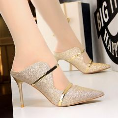 Charming Gold Evening Party Womens Sandals 2020 Sequins 9 cm Stiletto Heels Pointed Toe Sandals