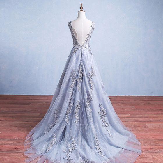 Elegant Grey Prom Dresses 2017 Appliques Lace Sleeveless Backless Sash Ruffle Tulle Formal Dresses