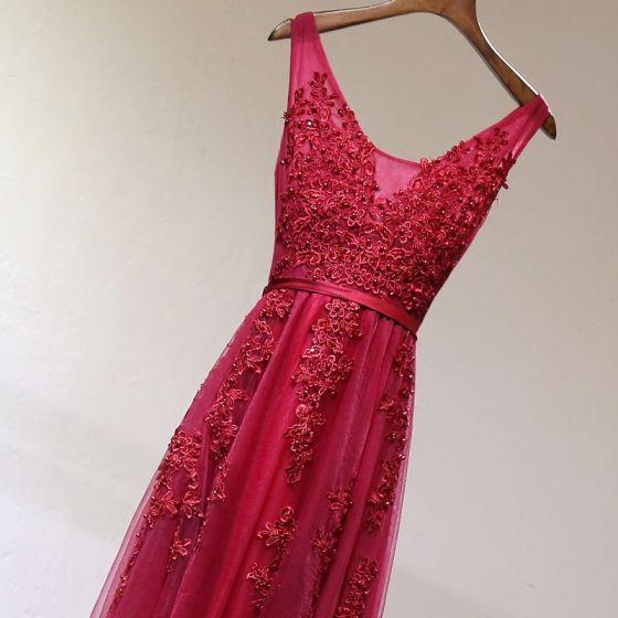 Chic / Belle Rouge Robe De Ceremonie 2017 Princesse En Dentelle Fleur Perlage Dos Nu U-Cou Sans Manches Longueur Cheville Robe De Soirée