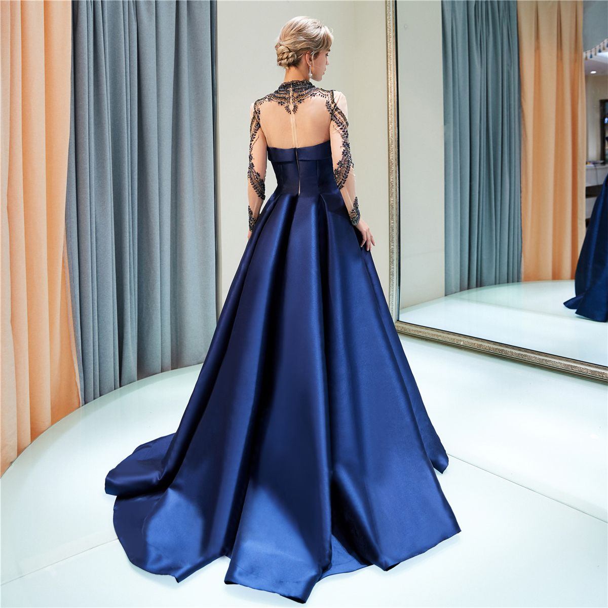 Luxury / Gorgeous Navy Blue Evening Dresses  2019 A-Line / Princess High Neck Beading Crystal Long Sleeve Sweep Train Formal Dresses