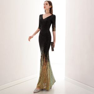 Charming Black Gold Evening Dresses  2020 Trumpet / Mermaid V-Neck Sequins 1/2 Sleeves Floor-Length / Long Formal Dresses