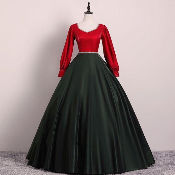 Vintage Schwarz Rot Ballkleider 2019 Ballkleid V-Ausschnitt Strass Stoffgürtel Lange Ärmel Lange Festliche Kleider