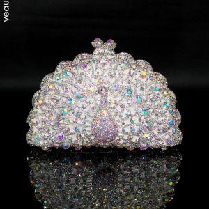 Scintillantes Bling Bling Argenté Pochette Perlage Faux Diamant Fait main Cuir Mariage Cocktail Soirée Accessorize 2019