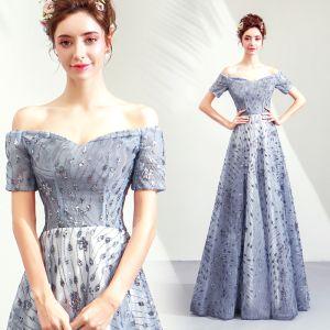 Elegant Silver Evening Dresses  2019 A-Line / Princess Off-The-Shoulder Glitter Tulle Sequins Short Sleeve Backless Floor-Length / Long Formal Dresses