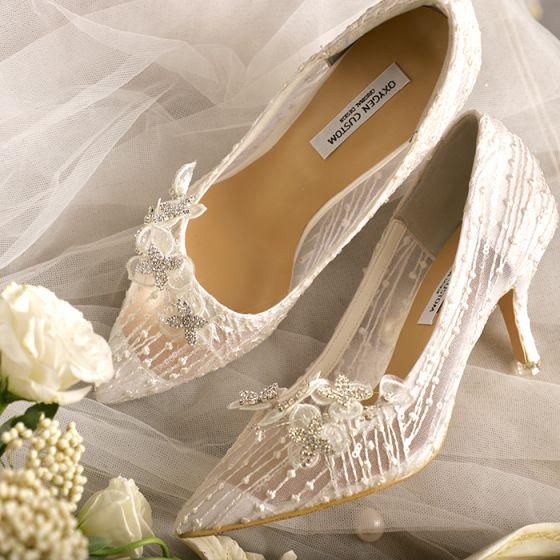 Edles Ivory / Creme Brautschuhe 2020 Leder Handgefertigt Perlenstickerei Spitze Blumen Hochzeit 9 cm Stilettos Spitzschuh Pumps