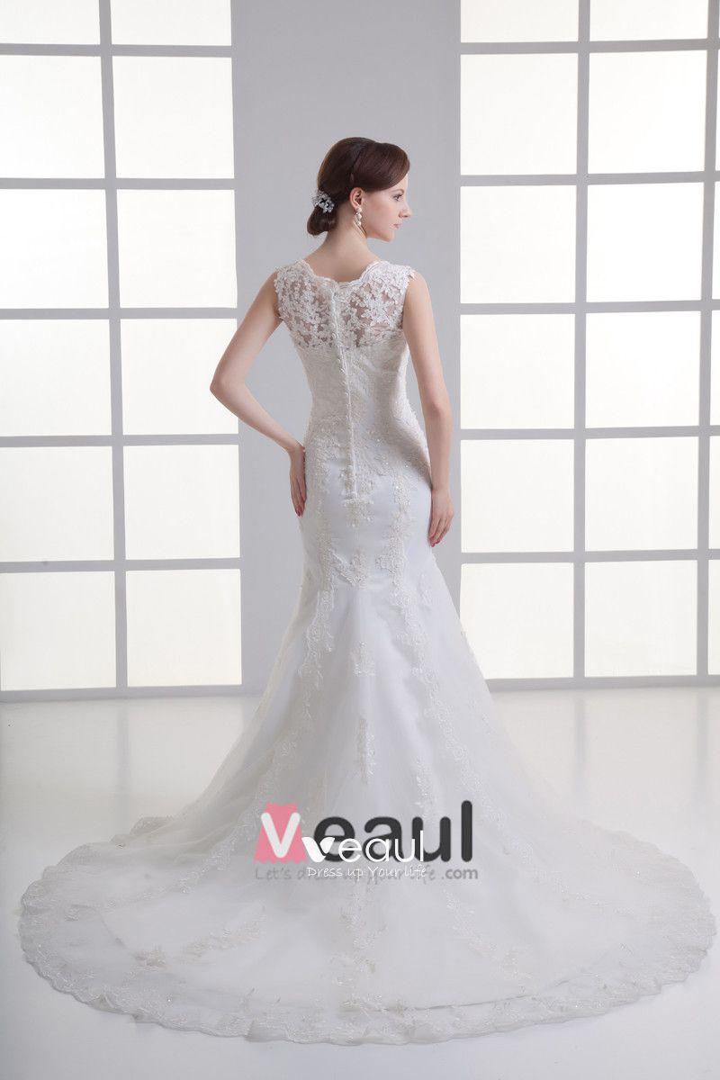 Tulle Beading Applique V Neck Court Train Mermaid Wedding Dress