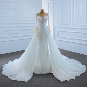 Luxury / Gorgeous White See-through Bridal Wedding Dresses 2020 Trumpet / Mermaid Square Neckline Long Sleeve Backless Handmade  Beading Pearl Court Train Ruffle