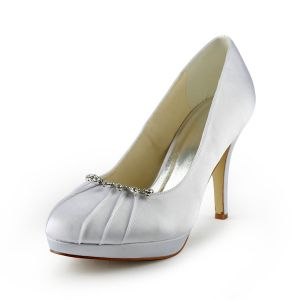 Glamorous Ivory Bridal Shoes Ruffle Satin Stilettos Pumps With Rhinestone