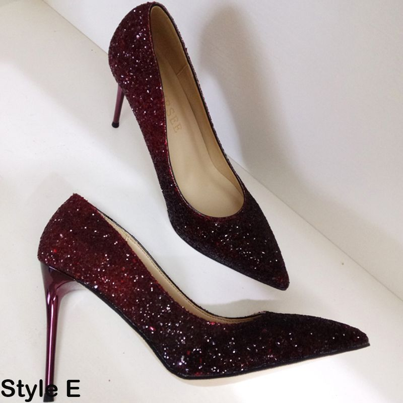 Luxury / Gorgeous 2017 9 cm Multi-Colors Evening Party Leatherette Glitter High Heels Stiletto Heels Pumps