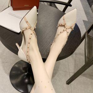 Fashion Beige Street Wear Rivet Womens Shoes 2020 X-Strap 6 cm Stiletto Heels Pointed Toe Heels