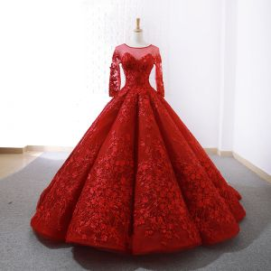 Stunning Red See-through Wedding Dresses 2019 Ball Gown Scoop Neck Long Sleeve Backless Appliques Lace Court Train Ruffle