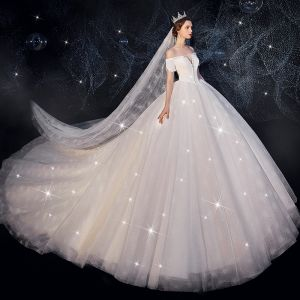 Chic / Beautiful Ivory Wedding Dresses 2019 Ball Gown Off-The-Shoulder Short Sleeve Backless Glitter Tulle Beading Royal Train Ruffle