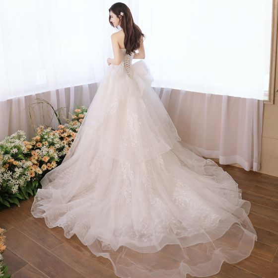 Chic / Beautiful Church Wedding Dresses 2017 White Ball Gown Cathedral Train Sweetheart Sleeveless Backless Lace Appliques Beading Sequins