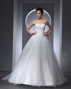 Strapless Floor Length Applique Lace Satin Tulle Woman Ball Grown Wedding Dress